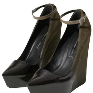Theyskens Theory Ombre Pattent and Suede Wedges .